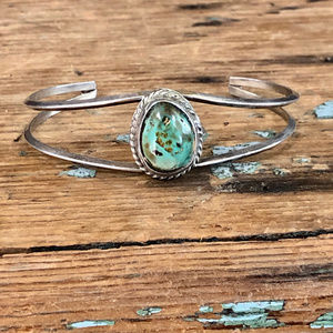 Mint Green Turquoise Bracelet in Sterling Silver